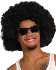 Adult Large Black Afro Fancy Dress Wig