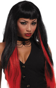 Ladies Black/Red Long Halloween Wig