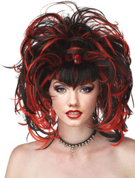 Ladies Black/Red Halloween Wig