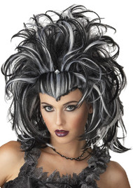 Ladies Black/White Halloween Wig