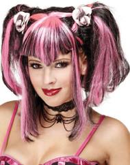 Ladies Black/Pink Halloween Wig