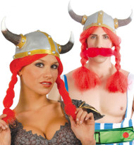 Adult Viking Hat with Red Plaits