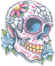 Adults Candy Skull Tattoo Transfer