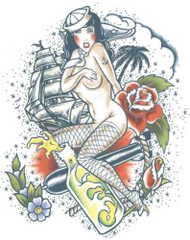 Adults XL Pin Up Tattoo Transfer