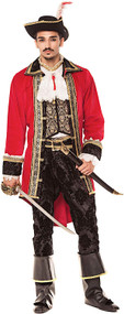 Mens Deluxe Red Pirate Fancy Dress Costume