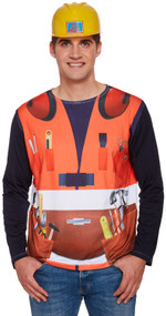 Mens Construction Worker Fancy Dress Top