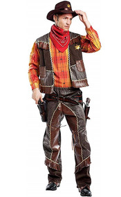 Mens Deluxe Cowboy Fancy Dress Costume