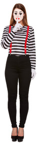 Ladies Striped Mime Artist Fancy Dress Costume