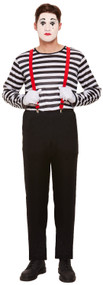 Mens Striped Mime Artist Fancy Dress Costume