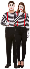 Couples Striped Mime Artist Fancy Dress Costume