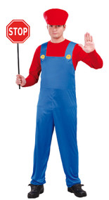 Mens Red Engine Driver Fancy Dress Costume