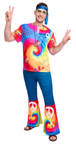 Mens Bright Hippy Fancy Dress Costume