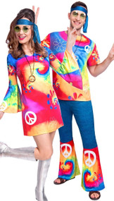 Couples Bright Hippy Fancy Dress Costumes