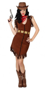 Ladies Brown Cowgirl Fancy Dress Costume