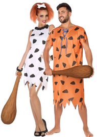 Couples 60s Caveman & Woman Fancy Dress Costumes
