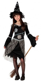 Girls Patchwork Witch Fancy Dress Costume