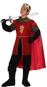 Boys Red Medieval King Fancy Dress Costume