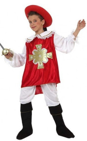 Boys Red Musketeer Fancy Dress Costume 2