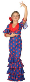 Girls Blue Flamenco Fancy Dress Costume