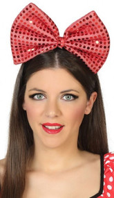 Ladies Red Sequin Oversized Bow Hairband