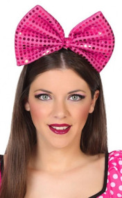 Ladies Pink Sequin Oversized Bow Hairband