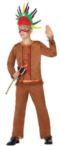 Boys Red Indian Fancy Dress Costume