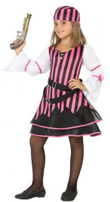 Girls Pink Striped Pirate Fancy Dress Costume