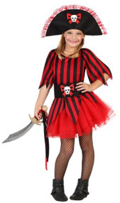 Girls Red Pirate Tutu Fancy Dress Costume