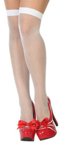 Ladies White Fishnet Fancy Dress Stockings