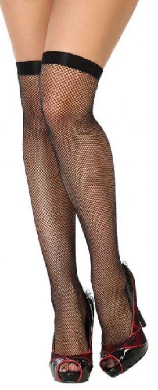 Black Fishnet Stockings With Bow Ladies Fancy Dress Accessory Hold Ups