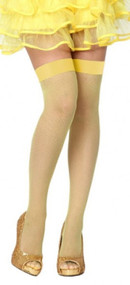 Ladies Yellow Fishnet Fancy Dress Stockings