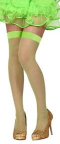Ladies Green Fishnet Fancy Dress Stockings