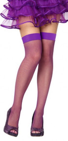 Ladies Purple Fishnet Fancy Dress Stockings