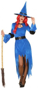 Ladies Spooky Blue Witch Fancy Dress Costume