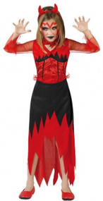 Girls Red Demon Fancy Dress Costume