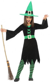 Girls Green Witch Fancy Dress Costume