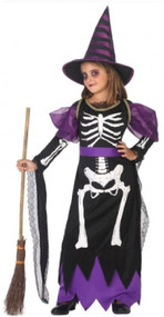 Girls Skeleton Witch Fancy Dress Costume