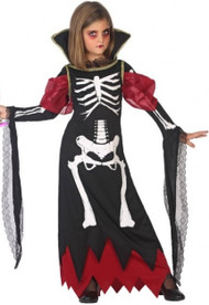 Girls Skeleton Vampire Fancy Dress Costume
