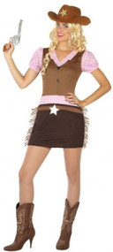 Ladies Wild West Cowgirl Fancy Dress Costume