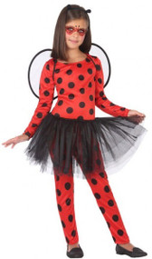 Girls Ladybird Jumpsuit Fancy Dress Costume