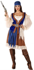 Ladies Shipwrecked Pirate Fancy Dress Costume