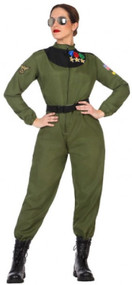 Ladies 80s Pilot Fancy Dress Costume