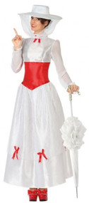 Ladies White Victorian Nanny Fancy Dress Costume
