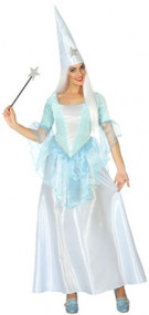 Ladies Blue Fairy Godmother Fancy Dress Costume