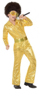 Child's Gold Sequinned Disco Fancy Dress Costume