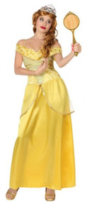 Ladies Golden Pretty Princess Fancy Dress Costume