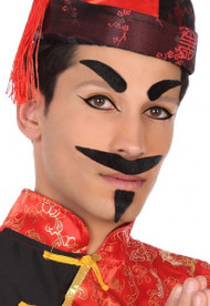Mens Arabian Black Moustache & Eyebrow Facial Accessory