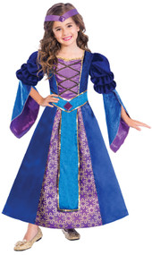 Girls Pretty Medieval Princess Fancy Dress Costume