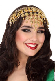 Ladies Arabian Gold Coin Fortune Teller Headdress