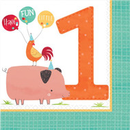 Barnyard Animals 1st Birthday Napkins